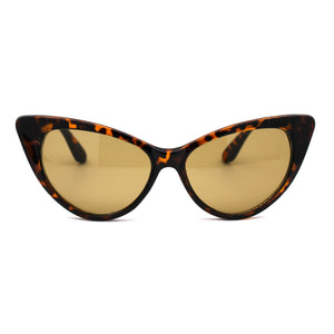 Womens Green Tempered Glass Lens Cat Eye Retro Sunglasses