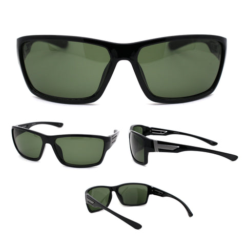 Mens Green Tempered Glass Lens Warp Rectangular Sunglasses