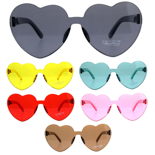 Womens Heart Shape Rimless Shield Hippie Groove Valentine Sunglasses