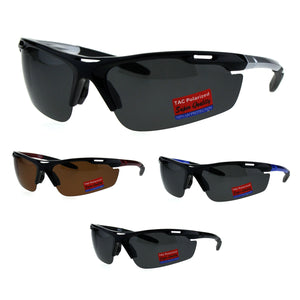 Polarized Antiglare Mens Runners Half Rim Sport Light Weight Sunglasses