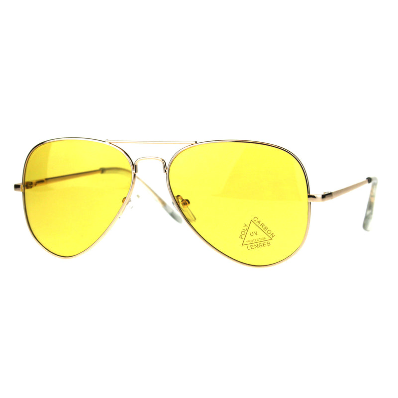 Mens Yellow Color Mirror Metal Rim Pilots Officer Sunglasses