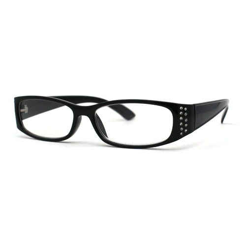 Womens Narrow Rectangular Rhinestone Jewel Trim Plastic Reading Glasses