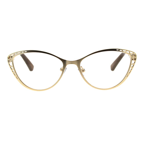 Womens Metal Rim Cat Eye Diecut Deco Powered Reading Glasses