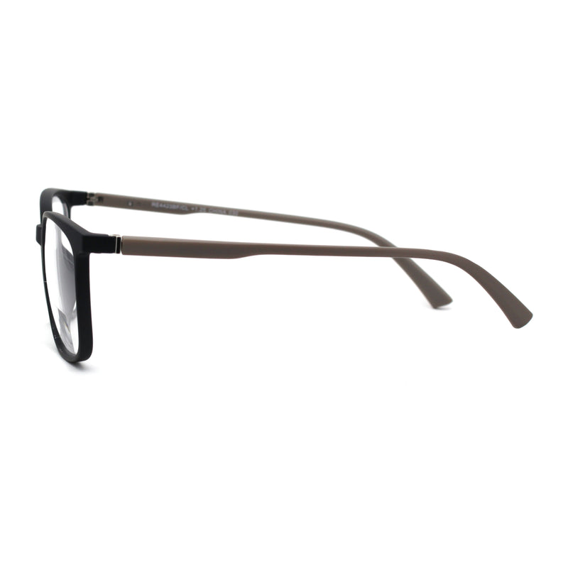 Unisex Thin Plastic Horn Rim Rectangle Bi-focal Reading Glasses