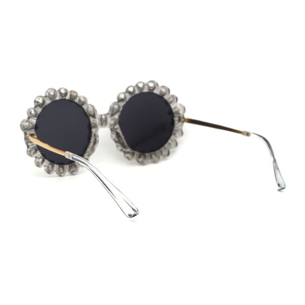 Womens Large Rhinestone Jewel Round Circle Daisy Plastic Sunglasses