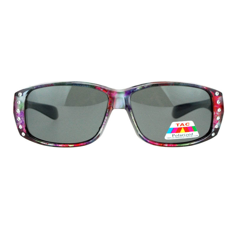 SA106 Rhinestone Womens Floral Polarized Fitover OTG 57mm Sunglasses