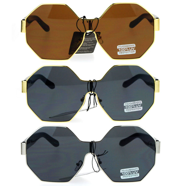SA106 Octagonal Shield Robotic Large Futuristic Fashion Sunglasses