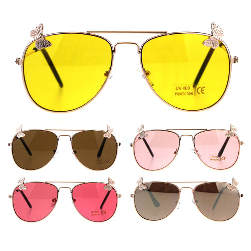 Children Girls Butterfly Emblem Jewel Metal Rim Pilots Sunglasses