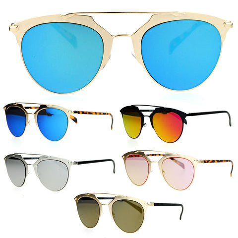 SA106 Hipster Metal Half Horn Rim Color Mirror Lens Sunglasses