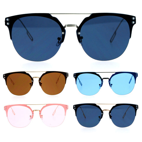 SA106 Rimless Half Rim Style Flat Top Hipster Flat Lens Sunglasses