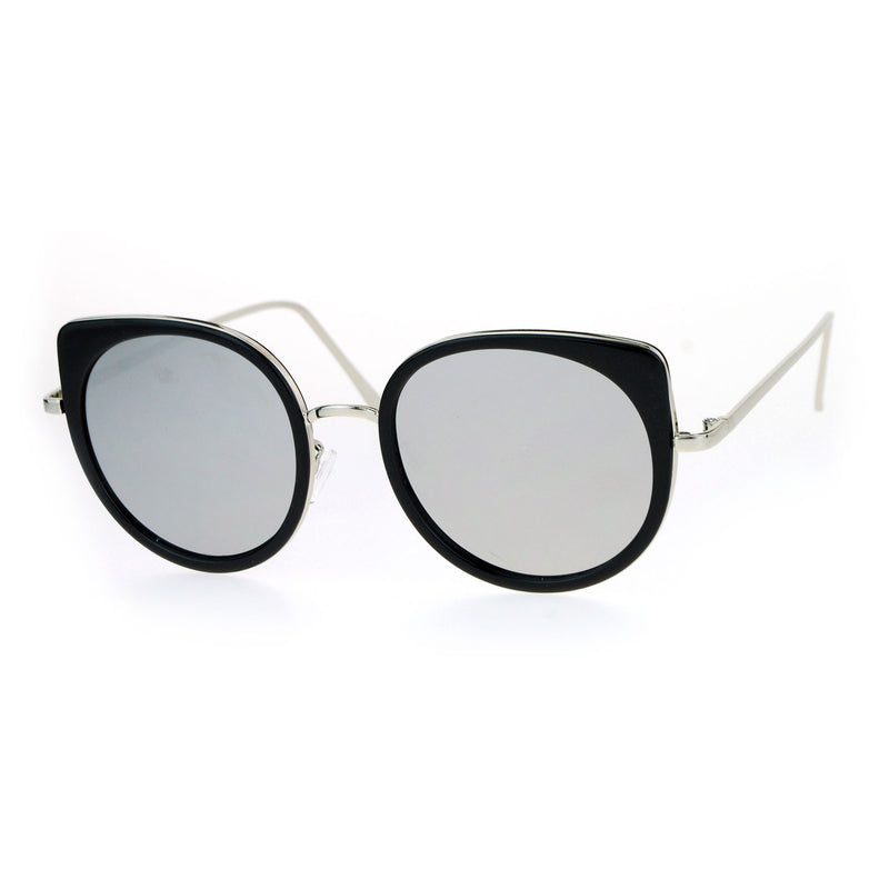 SA106 Flat Color Mirrored Round Cat Eye Womens Retro Sunglasses