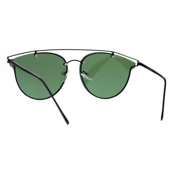 SA106 Flat Panel Unique Rimless Wire Bridge Horn Rim Sunglasses