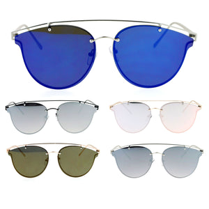 SA106 Color Mirror Flat Panel Unique Rimless Wire Bridge Horn Rim Sunglasses
