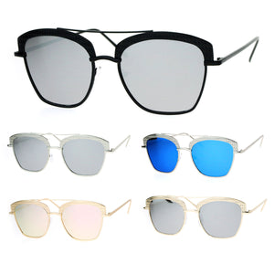 SA106 Womens Color Mirrored Lens Half Rim Butterfly Diva Sunglasses