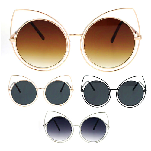 SA106 Wire Double Rim Round Circle Flat Lens Womens Retro Diva Sunglasses