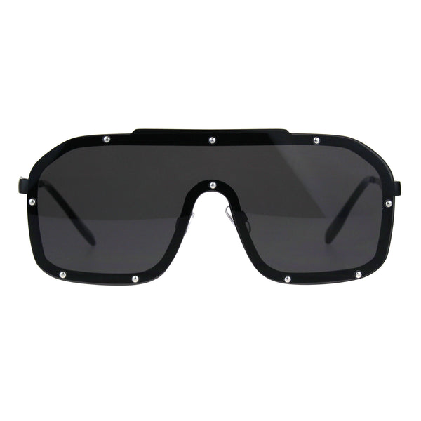 80s Retro Robotic Shield Oversize Metal Rim Gradient Sunglasses