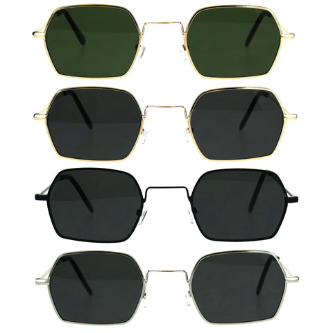 Pimp Daddy Hippie Narrow Rectangular Metal Rim Sunglasses