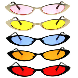 Womens Narrow Cat Eye Metal Rim Gothic Pimp Color Lens Sunglasses