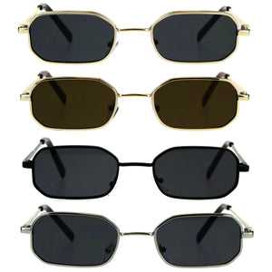 Mens Narrow Metal Rim Rectangular Hippie Pimp Sunglasses