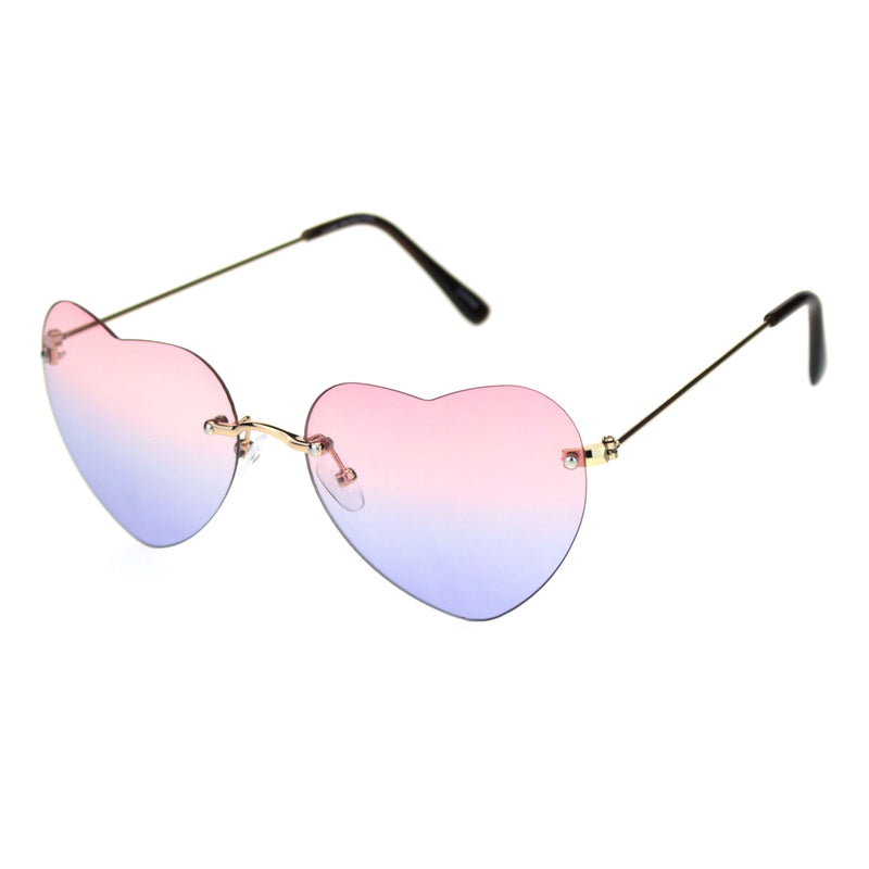 Womens Rimless Tie Dye Oceanic Gradient Lens Heart Sunglasses