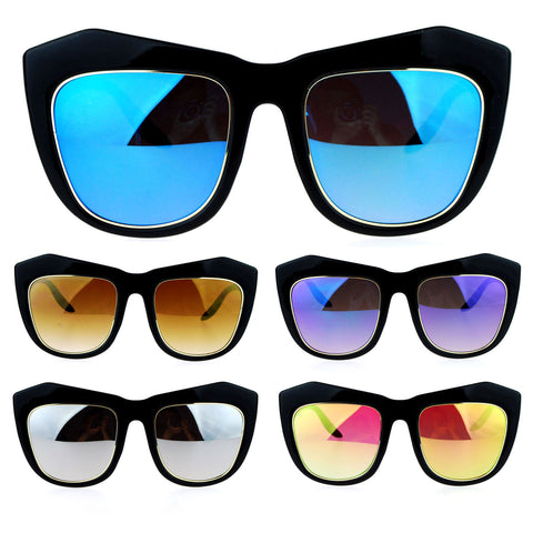 SA106 Color Mirror Lens Retro Thick Eyebrow Butterfly Sunglasses