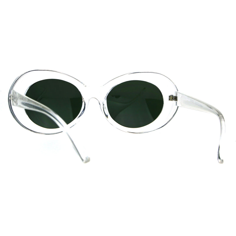 Womens Thick Plastic Mod Oval Shaggy Retro Fashion Sunglasses