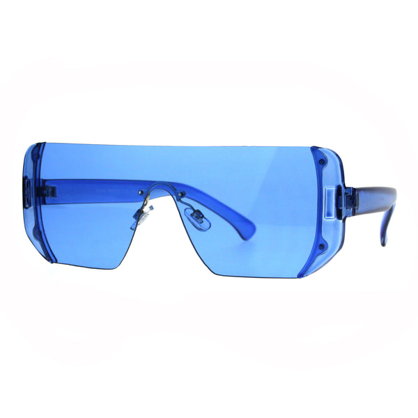 Rectangular Pop Color Shield 80s Robotic Disco Sunglasses