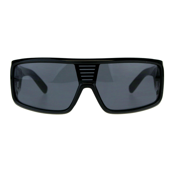 Mens All Black Robotic Shield Kush Gangster Plastic Sunglasses