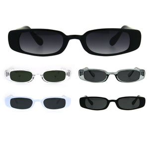 Womens Mod Narrow Rectangular Plastic Pimpy Sunglasses