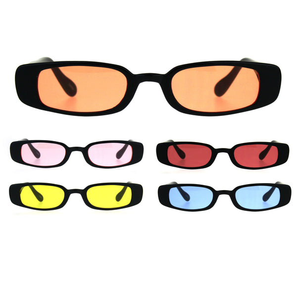 Womens Mod Narrow Rectangular Pimp Color Lens Plastic Sunglasses