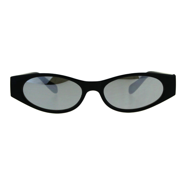 Womens Mod Narrow Rectangle Color Mirror Oval Lens Plastic Sunglasses