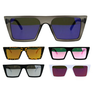 Womens Color Mirror Squared Flat Top Goth Cat Eye Sunglasses
