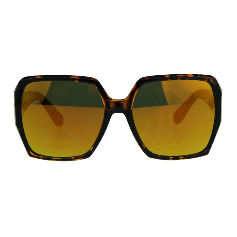 Womens Color Mirrored Plastic Butterfly Rectangular Large Sunglasses
