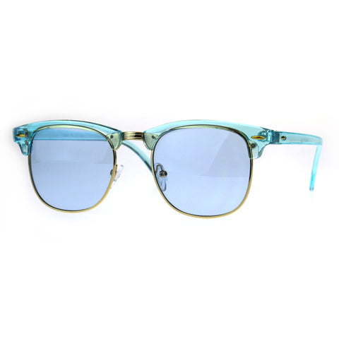 Pop Color Half Horn Rim Hipster 20s Rectangular Sunglasses
