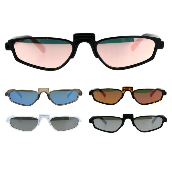 Unisex Mirrored Lens Rectangular Plastic Pimp Retro Vintage Sunglasses