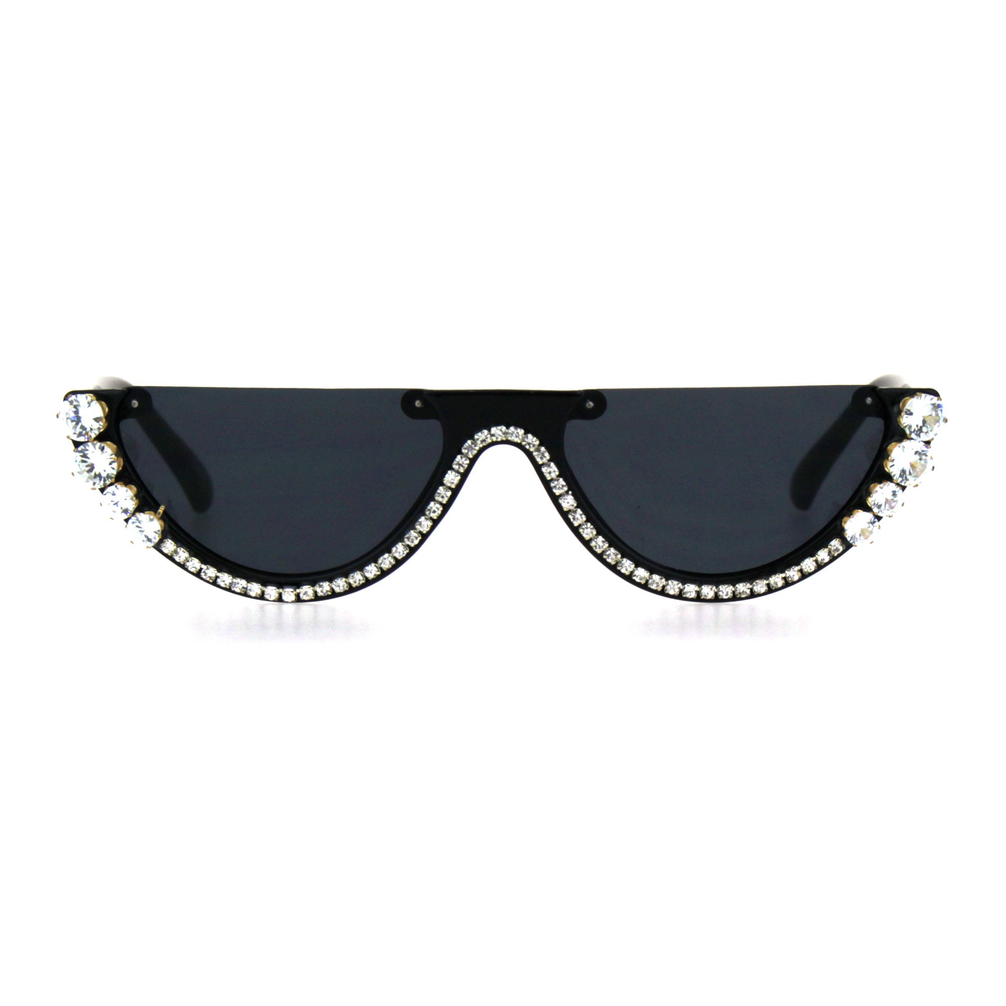 Rhinestone Tennis Iced Chain Crop Flat Top Cat Eye Goth Sunglasses