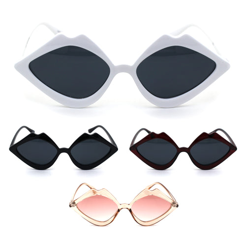 Womens Lip Shape Party Shade Hippie Plastic Sunglasses