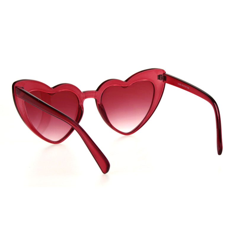 Womens Translucent Heart Shape Valentines Plastic Cat Eye Sunglasses