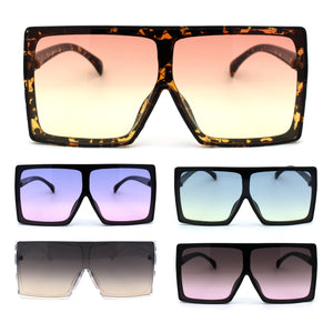 Funky Squared Oversize Rectangular Flat Top Mob Sunglasses