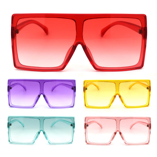 Unique Square Oversize Rectangular Flat Top Mob Sunglasses