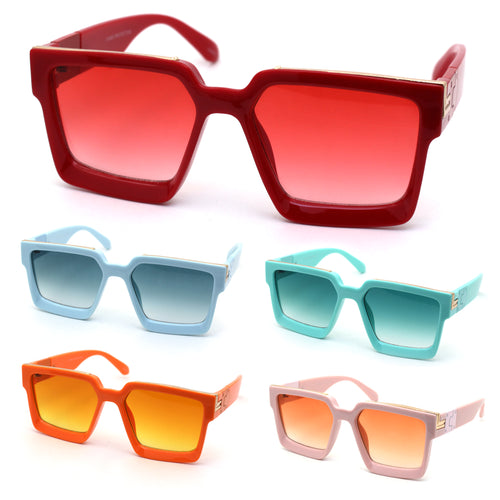 Womens Squared Thick Plastic Mob Luxury Rectangular Mafia Sunglasses