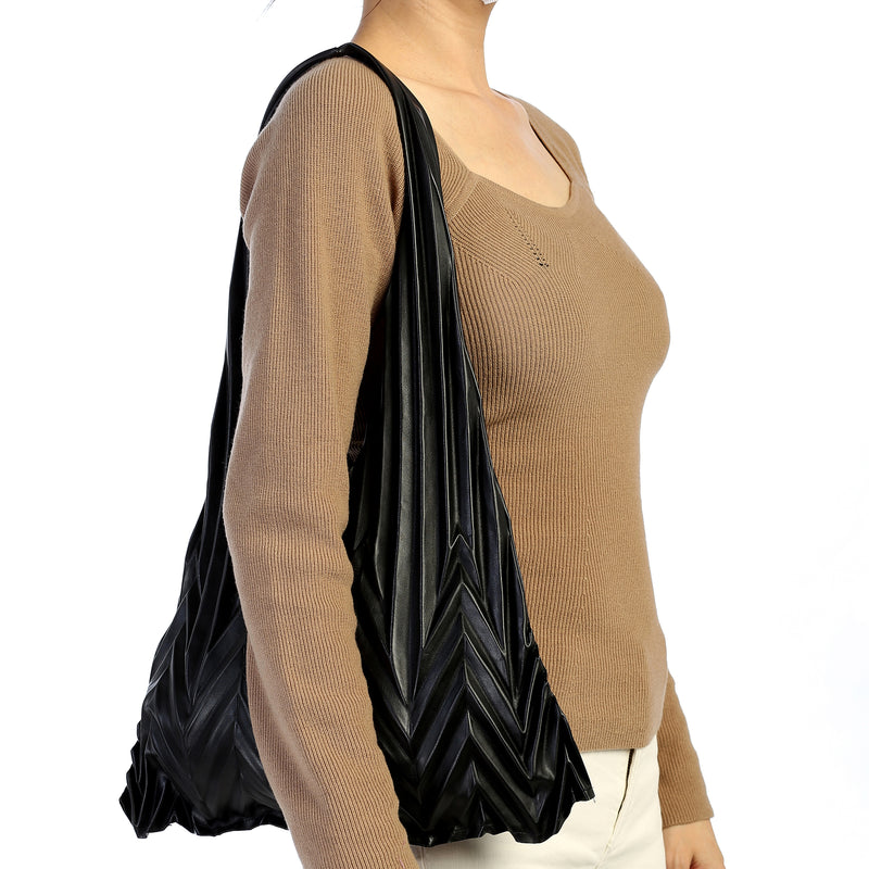 Trendy Chic Pineapple Pleated Tote Hand Bag