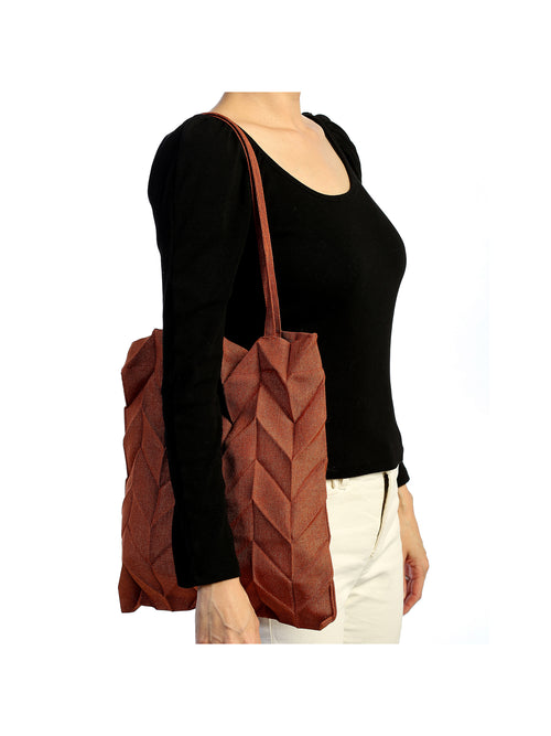 Minimalist Reto Classic Pleated Detail Tote Hand Bag