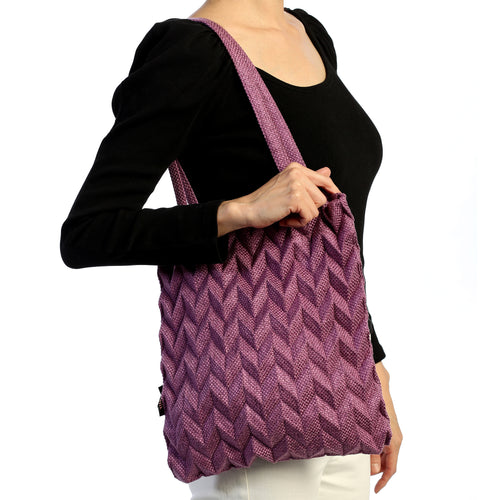 Minimalist Reto Classic Pineapple Pleated Detail Tote Hand Bag Purple