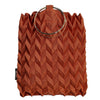 20s Fashion  Metal Ring Handle Pleated Tote Hand Bag