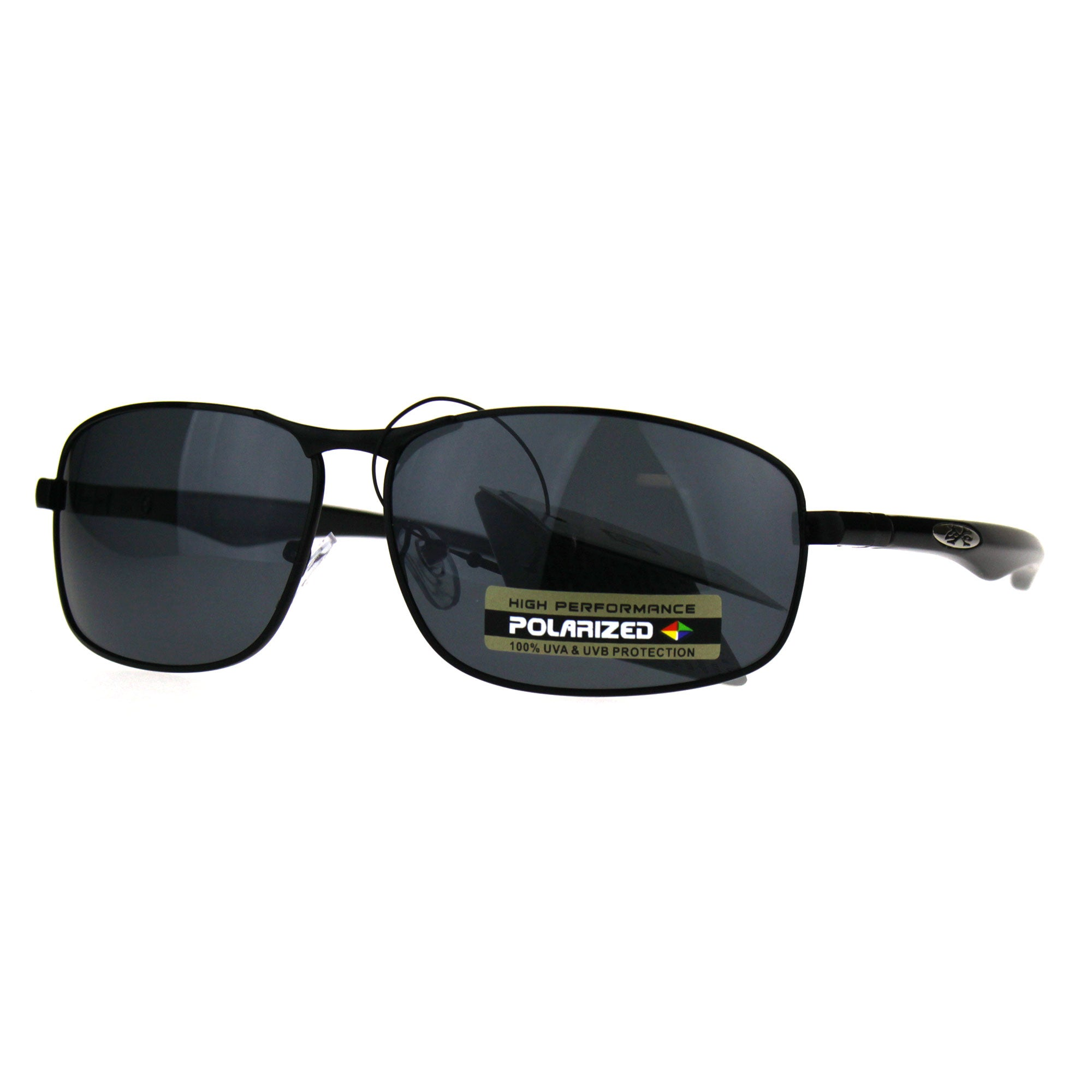 Polarized Xloop Rectangular Metal Rim Warp Sport Mens Sunglasses