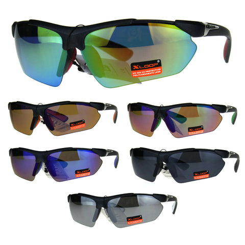 Xloop Futuristic Baseball Half Rim Sports Mens Sunglasses