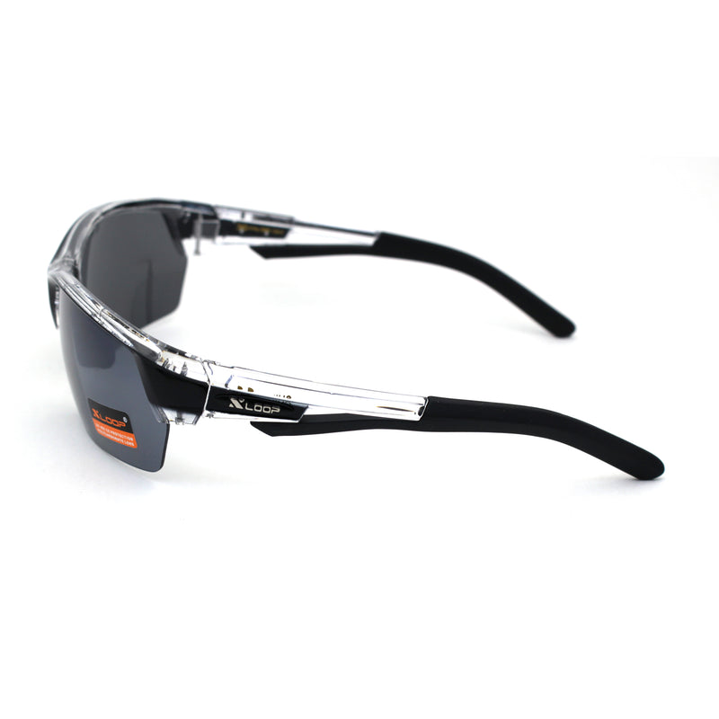 Mens Xloop Sport Half Rim Plastic Rectangular Sunglasses