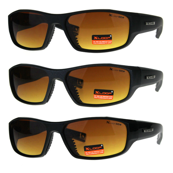 Mens Xloop HD Driving Lens Sport Plastic Rectangular Sunglasses