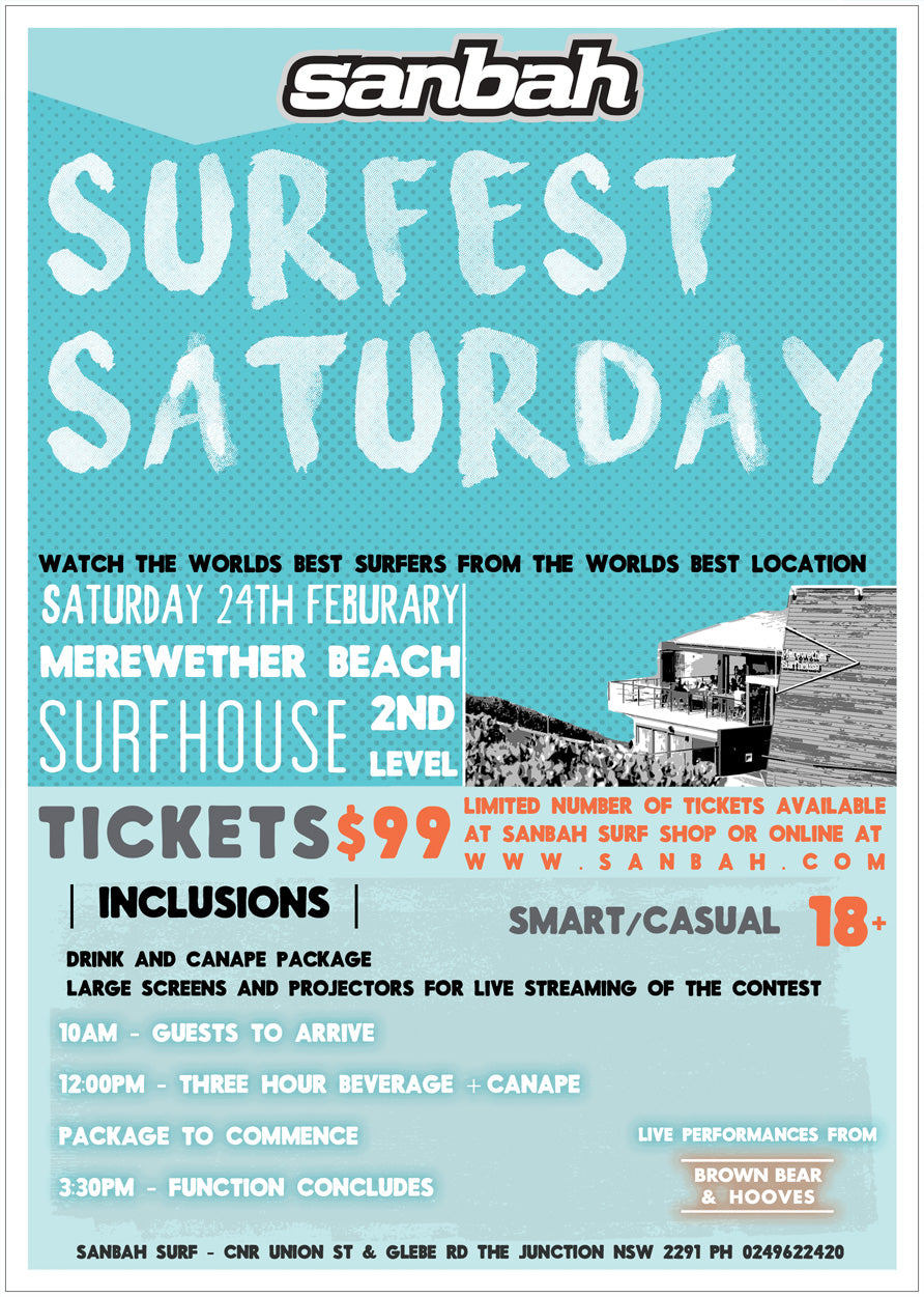 Sanbah Surfest Saturday - 24th of Feb 2018 - Tickets on sale now!